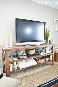 DIY tv stand. I'm hoping to build this and put it in my apartment along the long wall. #rustichomedecor