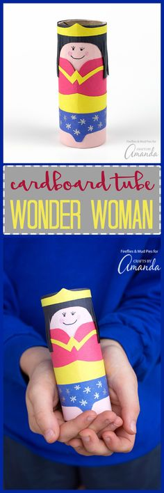 Make a Cardboard Tube Wonder Woman, simply perfect for imaginative play and for celebrating The Wonder Woman Movie release.