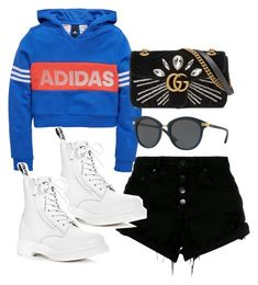 """""""Untitled #4619"""" by dkfashion-658 ❤ liked on Polyvore featuring adidas, Nobody Denim, DKNY, Dr. Martens and Gucci"""