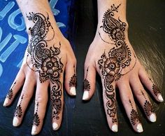 Find images and videos about henna on We Heart It - the app to get lost in what you love. Henna Designs Easy, Beautiful Henna Designs, Henna Tattoo Designs, Mehndi Designs For Hands, Mehandi Designs, Tattoo Ideas, How To Do Henna, Back Henna, Henne Tattoo