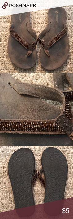 American Eagle flip flops Brown beaded American Eagle flip flops size 9 American Eagle Outfitters Shoes Sandals