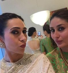Kareena Kapoor with Karisma Kapoor posing for a #selfie. #Bollywood #Fashion #Style #Beauty #Desi #Hot #Saree #Instagram
