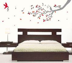 Lirolhaus - Vinilos Decorativos Bogotá: VINILOS DECORATIVOS ROMANTICOS Tree Wall Decor, Room Decor, My Room, Girl Room, Bedroom Bed Design, Bedroom Layouts, Room Colors, Wall Design, Decoration