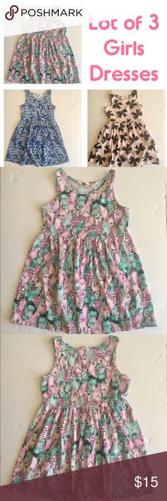 Lot of 3 Girls Dresses •W E L C O M E• You are purchasing a LOT of toddler girls sundresses!  •D E T A I L S•  Size: 2-4 Yrs. Brand: H&M Description: Just in time for summer! Three adorable dresses for baby girl. All are sleeveless and 100% Cotton. (1) Pink with black bows; (2) Blue with blue and white tiny flowers; (3) Pink with pink and teal blue birds, black detail. Super soft and comfy. Perfect play clothes! Machine wash. Excellent condition. H&M Dresses Casual