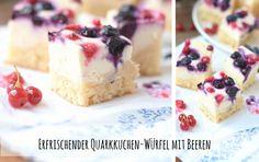 Erfrischender Quarkkuchen-Würfel mit Beeren