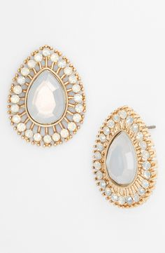 Wearing these sparkly white stone earrings to date night!
