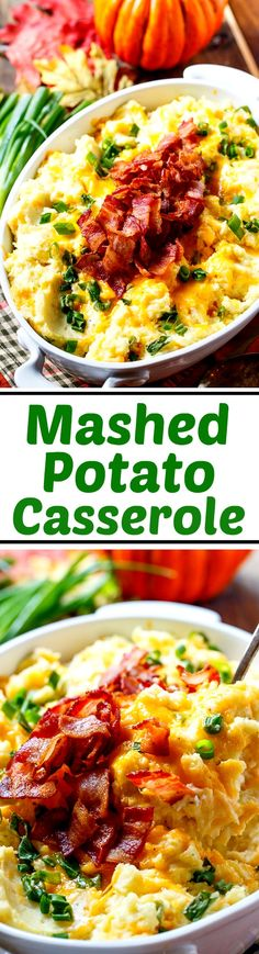 Loaded Mashed Potato Casserole- so rich and creamy. #pinarecipefeedachild #challengebutter