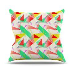 """Alison Coxon """"Confetti Triangles Red"""" Green Red Throw Pillow"""