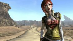 Borderlands, Lilith. Cel shaded graphics that are heavily inspired of Comic book art with the emphasis on bold black lines and colours. (Andrew Burnes, 02/10/08).