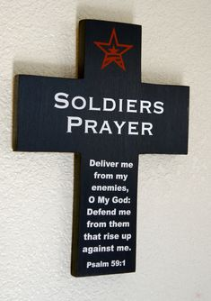 USA Soldiers Prayer Navy Pine Wood Cross with by Frameyourstory, $39.95