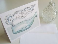Whale Thank You Card by LaurajeanLaurajean on Etsy, $5.00