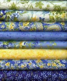 Blue Turquoise FQ Fat Quarter Fabric Flowers Stems Patterns 100/% Cotton Quilting