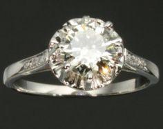 French estate diamond platinum engagement ring