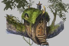 Fairy Tree House Illustration Treehouse 46 Ideas For 2019 Fantasy House, Fantasy Art, Diy Jardim, Fairy Tree Houses, Dragons, Star Wars Concept Art, House Illustration, Illustration Styles, Fairy Furniture