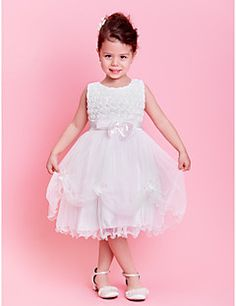 A-line/Princess Jewel Knee-length Lace And Tulle Flower Girl Dress (AB401) – GBP £ 21.89