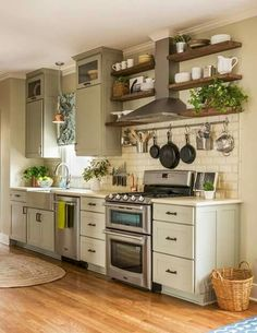 Charming Little Rock residence gets a refreshing eclectic style makeover An eclectic style home built in 1939 has housed five generations, remodeled by Kathryn J. LeMaster, in the historic Heights area of Little Rock, Arkansas. Modern Farmhouse Kitchens, Farmhouse Kitchen Decor, Country Kitchen, New Kitchen, Cool Kitchens, Farmhouse Ideas, Kitchen Tips, Awesome Kitchen, Farmhouse Design