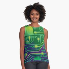 Love of Computers Technology Digital Circuit Board Print Sleeveless Top l Edgy Outfits, Green Outfits, Blouses For Women, Women's Blouses, Edgy Dress, Retro Shirts, Circuit Board, Digital Technology, Computers