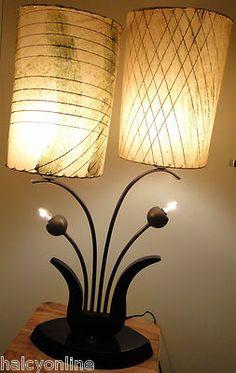 Vtg 50s Majestic Lamp Fiberglass Shades Mid Century Modern Retro Floral Atomic | eBay