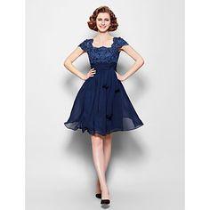Mother of the Bride Dress Knee-length Short Sleeve Chiffon A-line Dress – CAD $ 107.99
