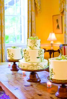 Brides: White Wedding Cake with Green Filigree