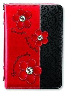 Simple Kind Love Red and Black X-Large Faux Leather Bible Cover Case and Handle