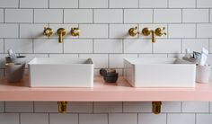 Twin sqaure basins and Tradition wall mounted taps from Aston Matthews Gold Taps, Brass Tap, Wall Mounted Basins, Wall Mounted Shelves, Bathroom Showrooms, Bathroom Interior, Countertop Basin, Countertops, Full Bath