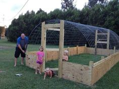 Hoop house with a plyboard base, maybe good for animals, but for humid gardening I wonder how long that wood will last?