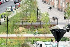 """Why Copenhagen Is Building Parks That Can Turn into Ponds .""""Instead of massive sewer expansion to prepare for climate change, the city chose something cheaper—and more fun. Urban Landscape, Landscape Design, Vertical City, Water Collection, Green Street, Water Management, Rain Garden, Space Architecture, Copenhagen Denmark"""