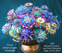 - Polymer Clay Floral Dreamscapes October 2016 Monday-Saturday, Carol Simmons and Maureen Carlson Polymer Clay Kunst, Polymer Clay Canes, Polymer Clay Flowers, Fimo Clay, Polymer Clay Projects, Polymer Clay Creations, Polymer Clay Jewelry, Clay Crafts, Clay Design
