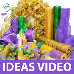 Party Ideas by Mardi Gras Outlet: TUTORIALS Using deco mesh - scroll down for other tutorials for Halloween and Christmas wreaths, too.