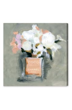 Still life flowers in a Chanel perfume bottle make this Oliver Gal LEau de Rose Canvas Wall Art your new favorite. Size options make this print a good. Painting Prints, Watercolor Paintings, Art Prints, Oliver Gal Art, Canvas Wall Art, Canvas Prints, Still Life Flowers, Design Art, Floral Design