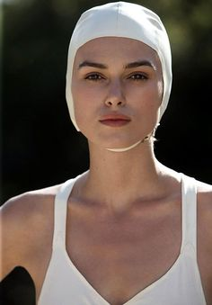 Keira Knightley In White Swimsuit Atonement Promos Keira Knightley, Keira Christina Knightley, Greg Williams, Portrait Photography, Fashion Photography, Bollywood Photos, Atonement, Swim Caps, White Swimsuit