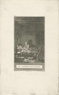 Noach van der Meer (II) | Ontwaken uit een droom, Noach van der Meer (II), Johannes Allart, 1777 | Een man wekt zijn vriend uit een aangename droom. Het bed waarin zij liggen staat in een slaapkamer. Op de voorgrond kleding op een stoel.