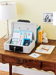 Fireproof storage box (staples), tips on what to keep in it and where to have a backup.