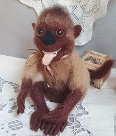 """Купить Валяная игрушка обезьяна капуцин""""Гарик"""" - подарок, подарок подруге, игрушка ручной работы"""