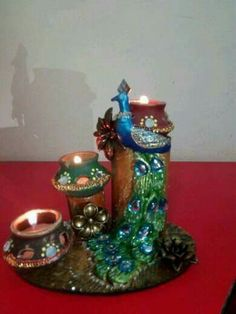 Vase Crafts, Clay Crafts, Diy And Crafts, Diya Decoration Ideas, Diy Diwali Decorations, Diwali Diy, Diwali Craft, Clay Wall Art, Clay Art