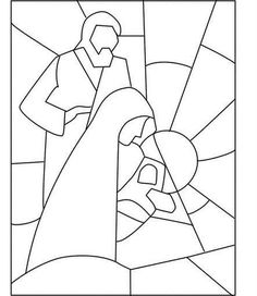Jesús, María y José Stained Glass Quilt, Faux Stained Glass, Stained Glass Patterns, Mosaic Patterns, Christmas Nativity, Christmas Art, Christmas Projects, Xmas, Christmas Colors