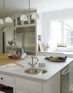 """""""Marble and Wood Island Carole Lalli, former editor in chief of Food & Wine magazine, designed this butcher-block-and-marble island in her Connecticut kitchen. """""""