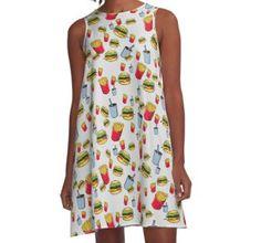 'fast food, fries burger and cola' by rockingarts Fries, Fast Food, Photoshop, Trends, Chiffon Tops, V Neck T Shirt, Hamburger, Classic T Shirts, Illustration