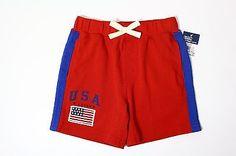 RALPH LAUREN Kid's USA Knit Short, Boys Shorts, Size 12M, Red $19.99