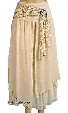 Pretty Angel Clothing Apparel Antique Belted Skirt In Beige S M L XL 27114