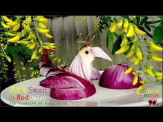 ▶ Art In Red Onion Swan - Vegetable Carving Tutorial Video - YouTube