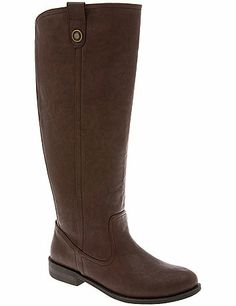 It's all about equestrian style this season, and our versatile, faux leather riding boot really delivers with clean dyed-to-match stitching and a subtle bootstrap detail. Comfortable wide calf design is made to fit and flatter with a stretchy back gore and easy-entry side zipper. In wide widths with a low heel and non-slip sole.  lanebryant.com