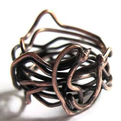 Copper Wire Jewelry | Copper Wire Wrap Ring Snake Unisex Jewelry by gimmethatthing