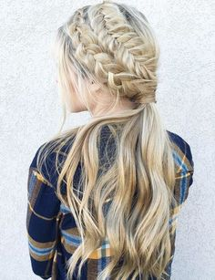 two dutch braids and a low ponytail