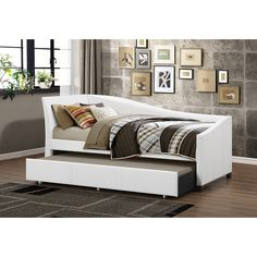 Baxton Studio Zoe Modern and Contemporary Upholstered Curved Sofa Daybed with Roll-out Trundle Guest Bed