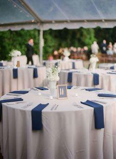white table cloth bright blue napkins - Google Search