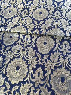 Seide Brokat Navy Blau und Gold Brokat Stoff, indische Hochzeit Brokat, vom Hof, Kleid Stoff Hochzeit Brokat