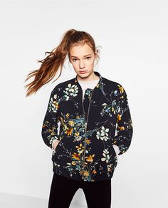 Image 2 of QUILTED FLORAL BOMBER JACKET from Zara