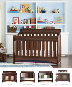 The Delta Bentley 4-in-1 crib grows with baby, changing in to a full-sized bed! Definitely the crib I want for Max